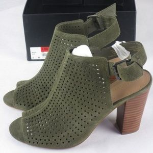 Olive Green Perforated Heels